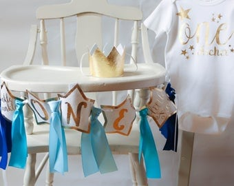 Twinkle Little Star Wall Banner, Highchair Cover, First Birthday Baby Boy Party Decoration, Gold and Blue, FREE SHIPPING