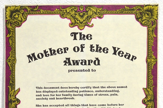 Mother S Day Gift Large Blank Mother Of The Year Award