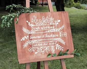 Rustic Welcome Decal Floral Wedding Decor Vintage Wedding Decor Vinyl Personalized Chalkboard Decal Calligraphy Decal DIY Wedding Decal