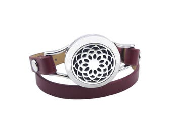 NEW Essential Oil Diffuser lotus leather wrap bracelet- Wine Red