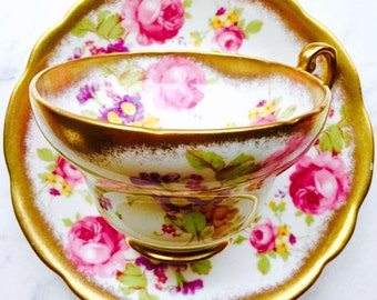 EB Foley Gold Spray Pink Roses 1940's Tulip Tea Cup and Saucer