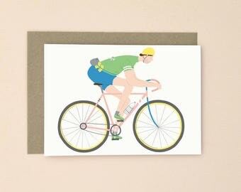 Cyclist Bike Illustrated Card A6