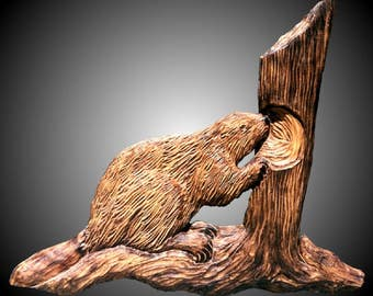 Beaver withTree Wall Sculpture