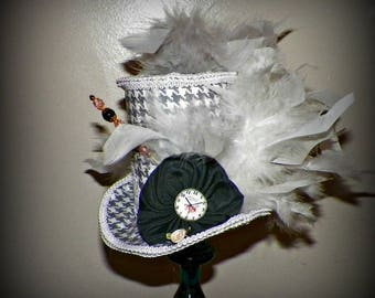 Mini Top Hat Fascinator Gray White  Gothic Cosplay Costume Steampunk  Bridal Altered Art  Tea Party