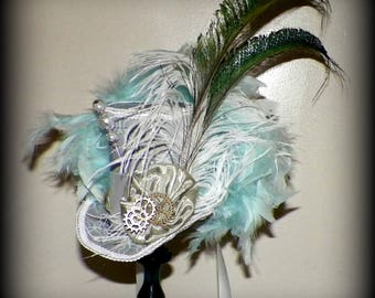 Mini Top Hat Gray Blue Gothic Fascinator White  Steampunk   Gothic Cosplay Costume Bridal  Tea Party
