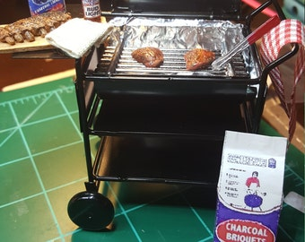 Miniature BBQ Grill  with Steaks dollhouse miniatures