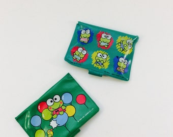 Keroppi Frog Green Wallet Sanrio Vintage Wallets 1990s 90s Collectible Hello Kitty and Friends, Child's ID Holder, Keroppi Collectibles