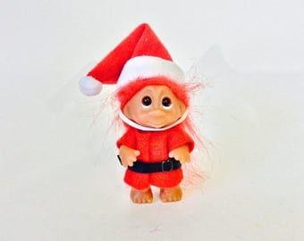 "Vintage Norfin DAM Troll Small Santa Elf Christmas Troll Thomas Dam Red Hair Santa Outfit Pom Pom Hat Santa's Helper 3"" Collectible Trolls"