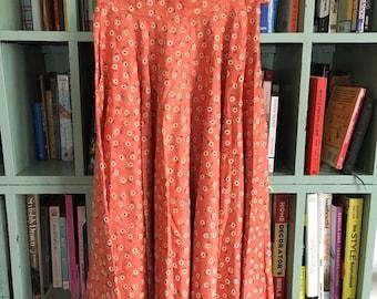 Peach Floral Linen Circle Skirt