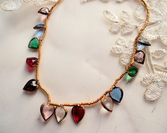 Necklace vintage glasshearts golden miyukibeads multicolored glasshearts romantic heart chain