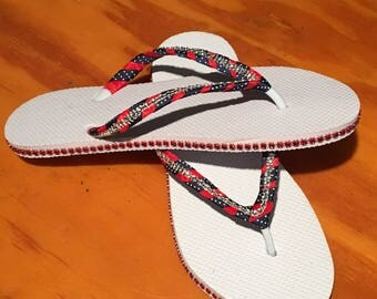July 4th Red White & Blue Flip Flops