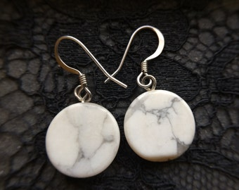 Handcrafted White Howlite .925 Sterling Silver French Hook Earrings, Dangle Earring Round Disc Beads, Handmade Jewelry