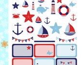 Nautical Stickers! 1 punched sheet, for your Erin Condren Life Planner, Plum Planner,  Filoflax, calendar