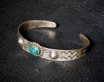 Old Fred Harvey Era Silver Repouss'e Bracelet