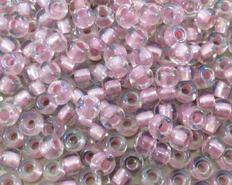 Size 6/0 Glossy AB Finish Pearlized Pink/Clear Genuine Miyuki Glass Seed Beads - Sold by 20 Gram Tubes (Approx. 200 Beads/Tube) - (6-93639)