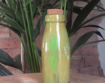 Vintage Hand Formed Painted Glass Bottle   Yellow/Neon Green/White