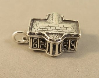 Sterling Silver 3-D WHITE HOUSE Charm Pendant Landmark Washington DC Government President Residence Travel .925 Sterling Silver New tr111