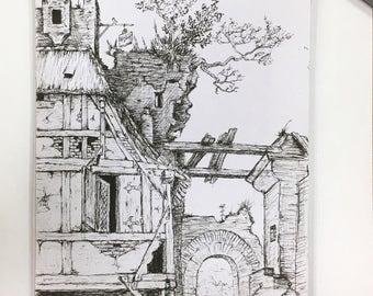 Almost like Durer's - Original Ink Pen Drawing