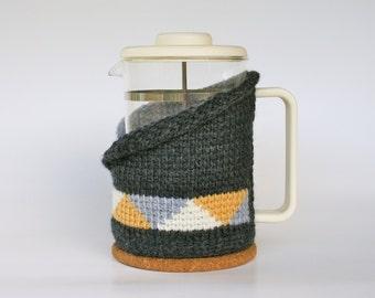 Coffee pot cosy / coffee plunger cosy / french press cosy / Bodum cosy / Tunisian crochet / grey cream and gold