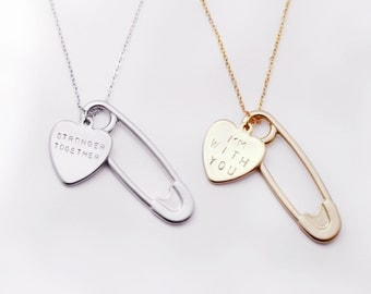Safety pin jewelry inspirational necklace - inspirational her Be Brave adventure awaits love message - RCHN-SP