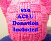 Pussyhat, Pink Cat Hat, Women's Rights Hat, Pink Pussy Hat, ACLU Donation, Crochet Pink Hat, Hot Pink Cat, Anti Trump Hat, Resist Trump Hat