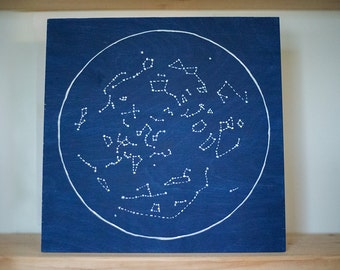 Constellations // Star Art // Night Sky // Stars // Navy // Wood Art // Northern Sky // 12 by 12