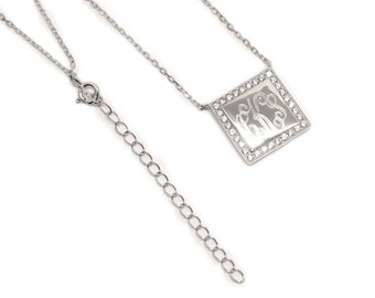 Engraved Sterling Silver Necklace with Cubic Zirconia square-Monogram Necklace