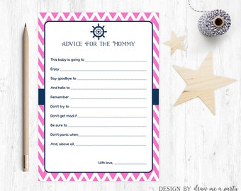 Nautical Girl Advice For Mommy , Girl Baby Shower Wishes , Mommy To Be Advice , Pink Navy Baby Shower , Printable , Instant Download