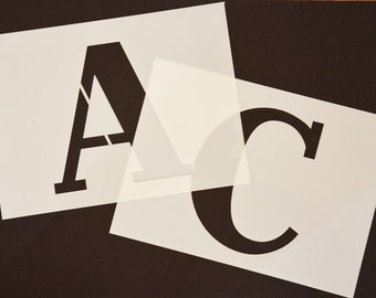 "STENCIL LETTERS Alphabet Stencils BIG Letters or Numbers each 140mm High (5 1/2"") separate stencils Monogram Stencils ideal for Sign Writing"