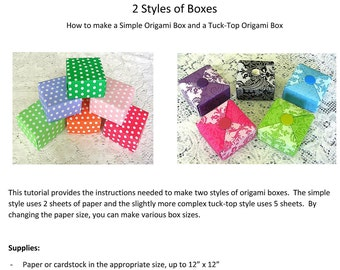 Origami Box Tutorial - Christmas Gift Box Instant Download - Digital DIY Gift Box Instructions - Folded Box Pattern PDF file