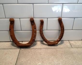 Vintage Horse Shoes, Rustic Farm Barn Finds, Good Luck, Wedding Decor, Farm Decor Lot of 2