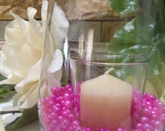 Magenta Pearls 400pc For Candle Vase Fillers, Table Scatters, No Hole Pearls, Small Pearls