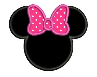 Mouse Ears Applique Embroidery Design, Instant Download Mouse Head with Bow Machine Embroidery Design no: SA535-1