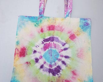 Rainbow Tie Dye Cotton Tote bag.