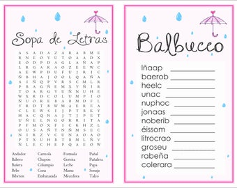 2-in-1 games Sopa de letras and Balbuceo Baby Shower  (April Showers 2)