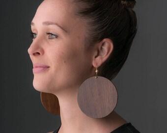 Large hoop earrings, large wood earrings, tribal earrings, boho earrings, dark wood, festival earrings, large circles classy
