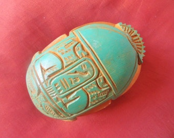RARE Antique Solid Egyptian Amulet Beetle Scarab Statue Collection With Hieroglyphics