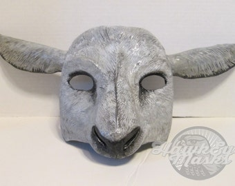 Sheep mask, masquerade mask, custom made, animal spirit mask, farm animal mask, sheep, bo peep,