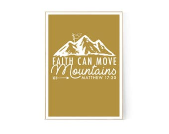 Faith Can Move Mountains Bible Verse Wall Art