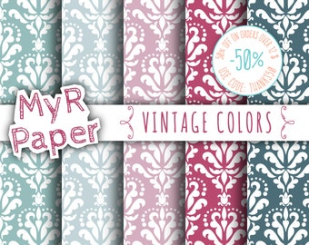 "SALE 50% Damask Digital Paper: ""Vintage Colors"" Digital Paper Pack and Backgrounds in Plum, Purple, Pink and Green Oil - digital paper sale"
