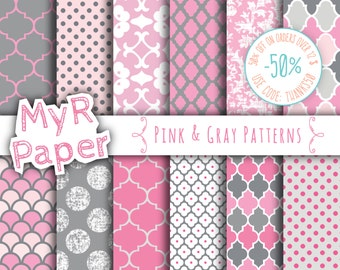 """Pink gray digital paper: """"Pink & Gray Patterns"""" digital paper pack and backgrounds with scallops, damask,dots in pink, gray and white"""