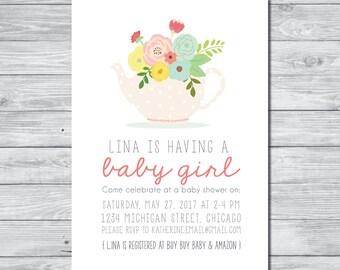 Tea Party Baby Shower Invitation, Tea Party Baby Shower, Tea Party Inviation, Custom Invitation, Digital invitation