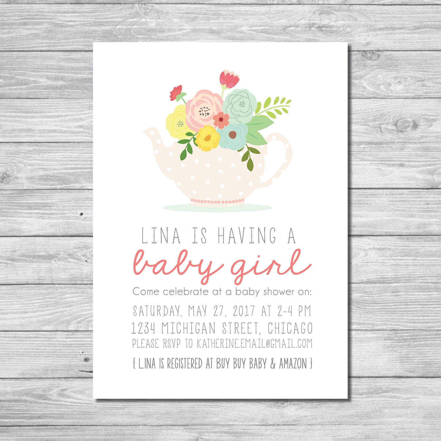 Tea Party Baby Shower Invitation Tea Party Baby Shower Tea