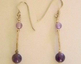 925 Purple Beaded Dangle Pierced Earrings