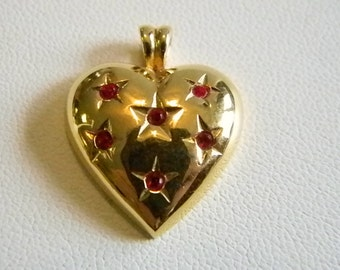 Gold Tone Heart Pendant Necklace with Ruby Red Rhinestones