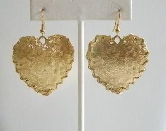 Large Gold Tone Dangle Heart Pierced Earrings