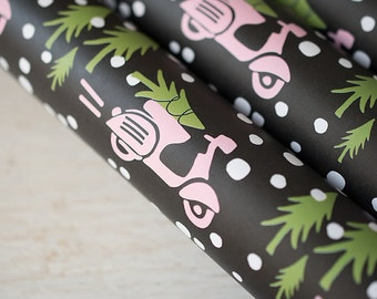Christmas Gift Wrap, Wrapping Sheets, Black and White Xmas, Pink Holiday, Scooter Lover Paper, Gift Wrap, Cute Christmas, Pink Christmas