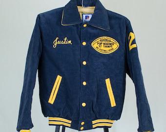 Vintage 80's Small Navy Blue Corduroy Letterman Varsity Jacket