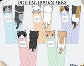 Cat bookmark, digital bookmarks, funny gift for her, kawaii cat, quote bookmark, book accessories, chibi kitties, kawaii bookmark, chibi cat