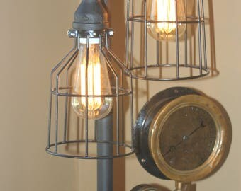 Large Steampunk Industrial Machine Age Vintage Gauge Black Iron Pipe Lamp